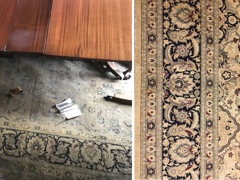 Before and after cleaning of water damaged rug