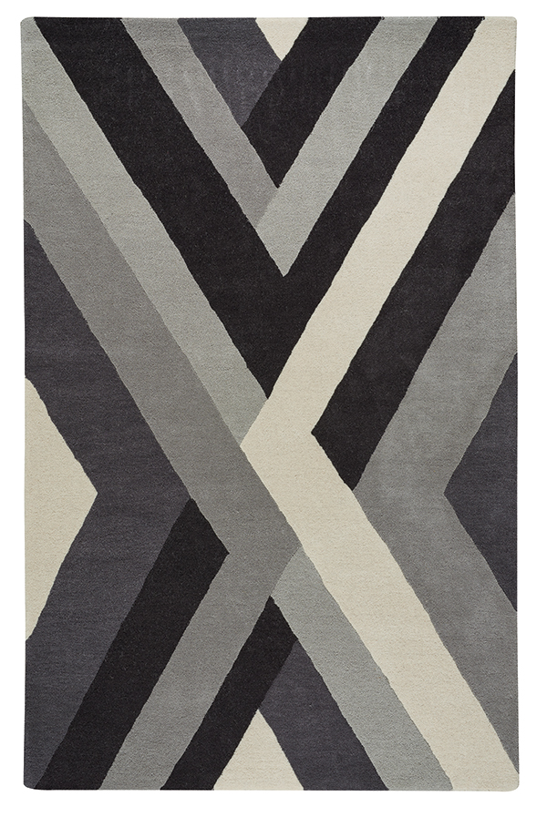 Leading The Way Intersection Is A Bold Geometric Design In Tufted Wool Sporting Wide Bands Of Related Colors Intersecting Creative Zigzag Like